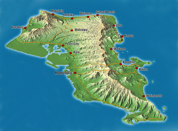Map Illustrations Tourist Maps High quality customised maps 3D – Hawaii Tourist Attractions Map