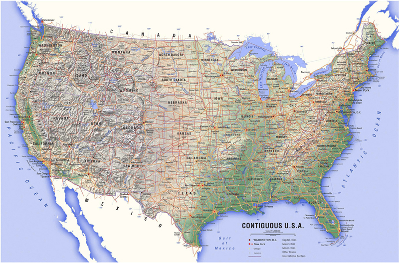 Physical Map Of USA Atlas World Map With Major Cities New - Atlas map of us