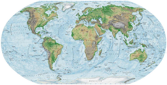 Map Illustrations Political Maps Showing The Structure Of The - Topographic map of the world