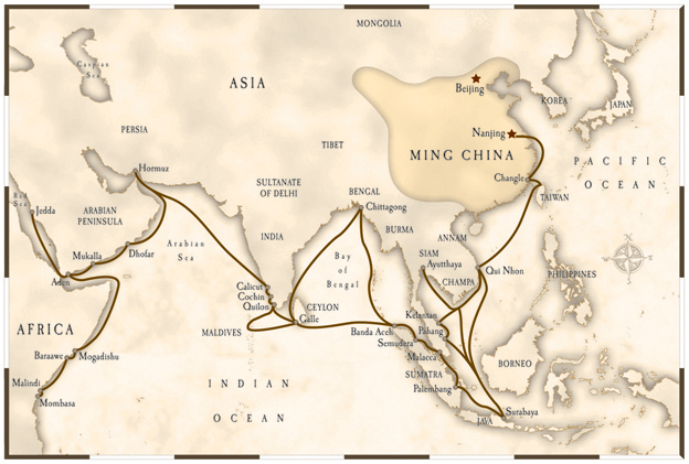 Thematic map of the voyage of Zheng He from Ming China